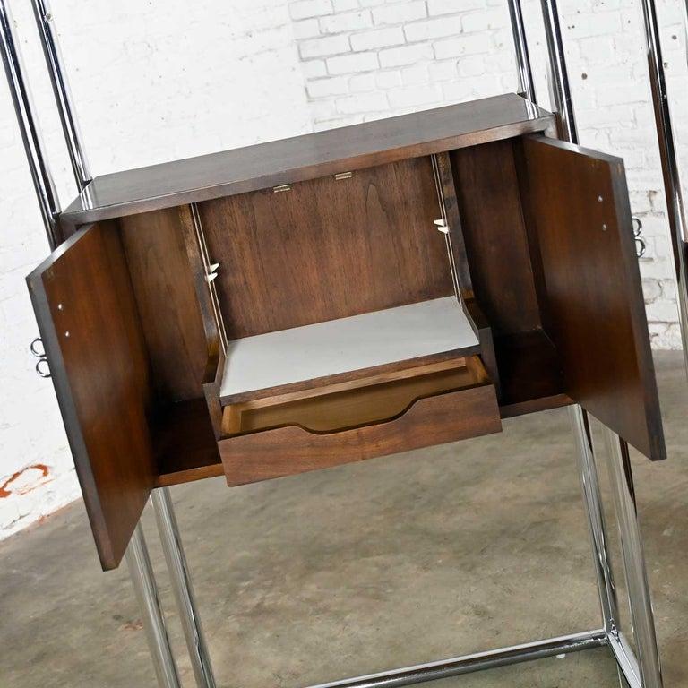 MCM Chrome & Walnut Veneer Display Cabinet or Room Divider 3 Piece Unit by Lane For Sale 6