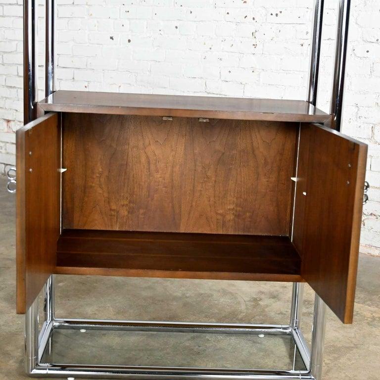 MCM Chrome & Walnut Veneer Display Cabinet or Room Divider 3 Piece Unit by Lane For Sale 7