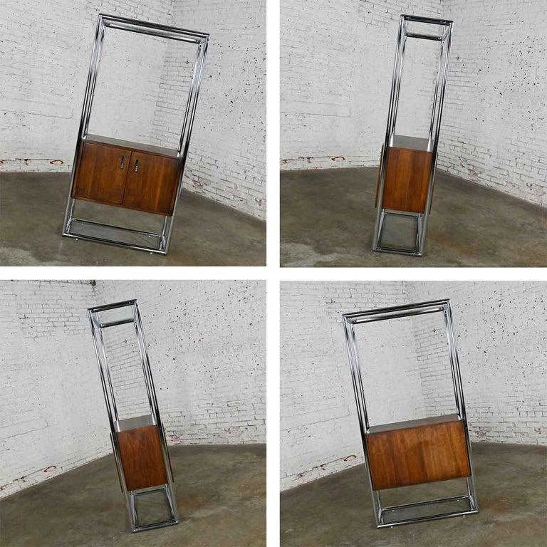 MCM Chrome & Walnut Veneer Display Cabinet or Room Divider 3 Piece Unit by Lane For Sale 9