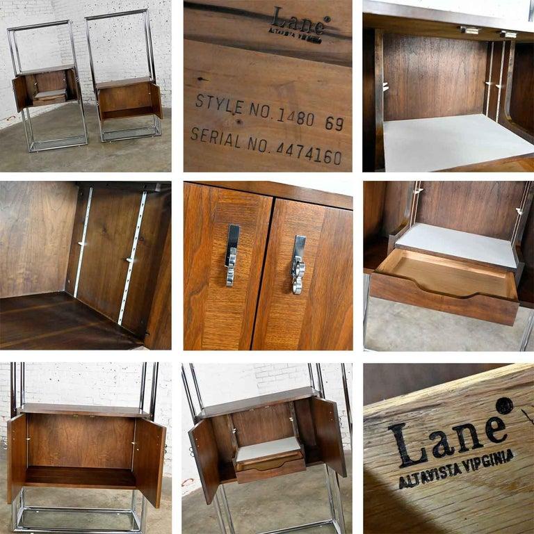 MCM Chrome & Walnut Veneer Display Cabinet or Room Divider 3 Piece Unit by Lane For Sale 11