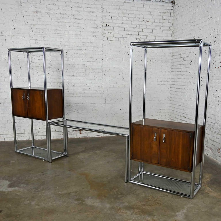 Mid-Century Modern MCM Chrome & Walnut Veneer Display Cabinet or Room Divider 3 Piece Unit by Lane For Sale