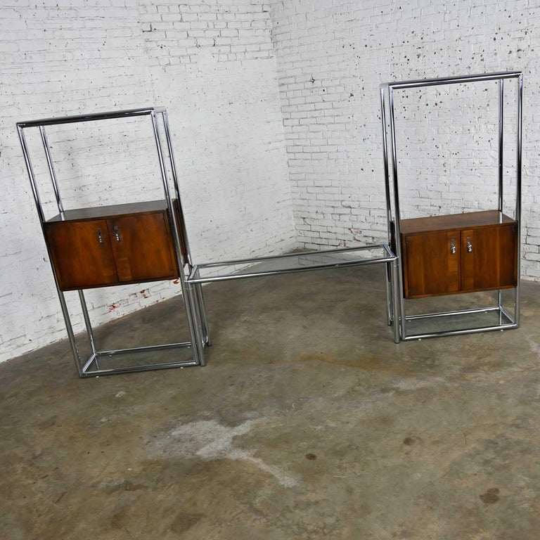 American MCM Chrome & Walnut Veneer Display Cabinet or Room Divider 3 Piece Unit by Lane For Sale