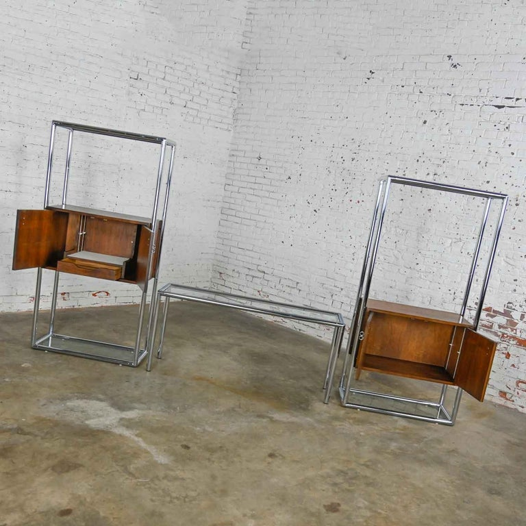 20th Century MCM Chrome & Walnut Veneer Display Cabinet or Room Divider 3 Piece Unit by Lane For Sale