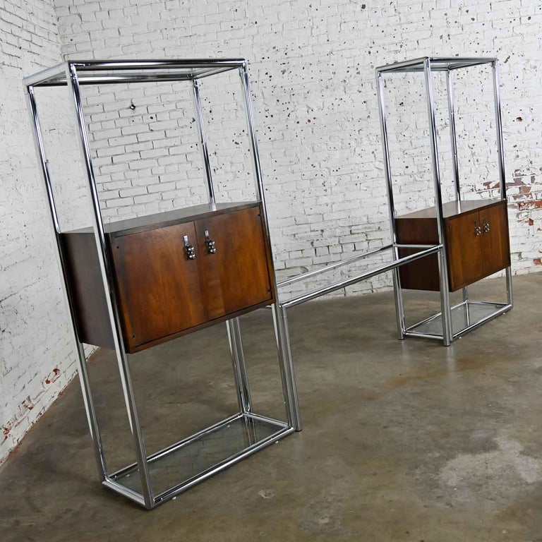 Glass MCM Chrome & Walnut Veneer Display Cabinet or Room Divider 3 Piece Unit by Lane For Sale