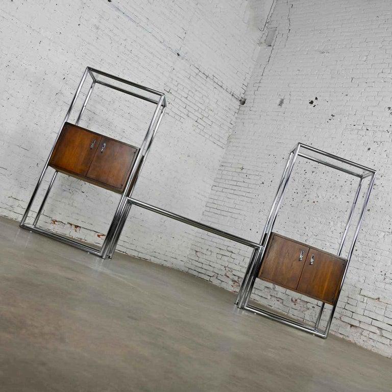MCM Chrome & Walnut Veneer Display Cabinet or Room Divider 3 Piece Unit by Lane For Sale 1