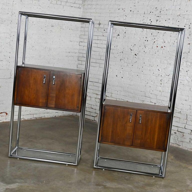 MCM Chrome & Walnut Veneer Display Cabinet or Room Divider 3 Piece Unit by Lane For Sale 2