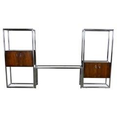 MCM Chrome & Walnut Veneer Display Cabinet or Room Divider 3 Piece Unit by Lane