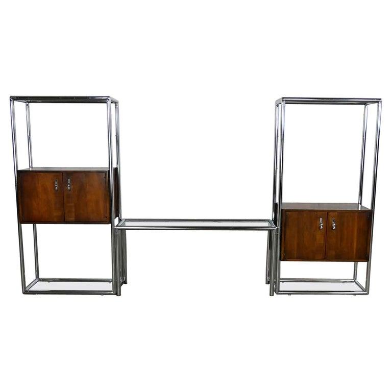 MCM Chrome & Walnut Veneer Display Cabinet or Room Divider 3 Piece Unit by Lane For Sale