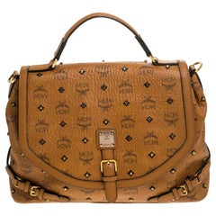 MCM Cognac/Black Visetos Leather Top Handle Bag