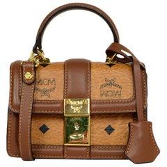 MCM Cognac Monogram Visetos Mini Tracey Satchel Crossbody Bag rt $810