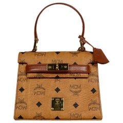 MCM Cognac Visetos Canvas Monogram Mini Kelly Style Bag