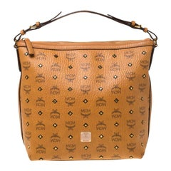 MCM Cognac Visetos Coated Canvas and Leather Crossbody Bag