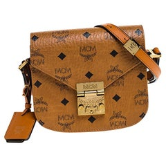 MCM Cognac Visetos Coated Canvas and Leather Patricia Crossbody Bag