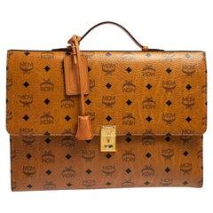 MCM Cognac Visetos Coated Canvas Heritage Briefcase