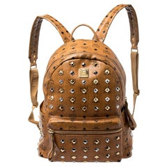 MCM Cognac Visetos Leather Large Studs Stark Backpack