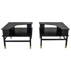 MCM Corner Step Tables a Pair Black with Brass Sabots Style of Harvey Probber
