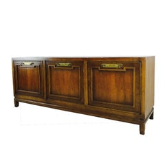 MCM Credenza with Brass Hardware in the Style of Thomasville
