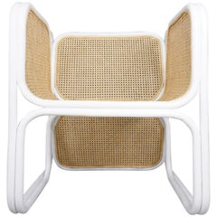 MCM Design White Lacquered Rattan and Natural Wicker Cane Large Armchair