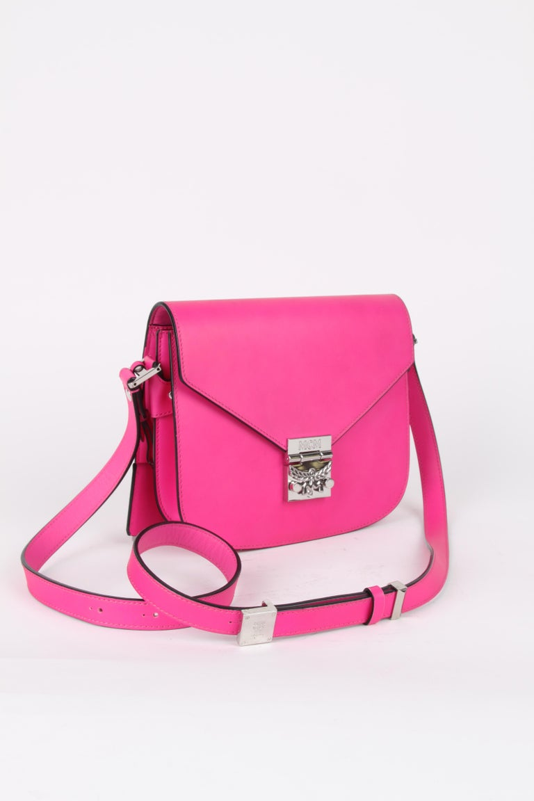 MCM Electric Pink Patricia Calfskin Crossbody Bag For Sale 8