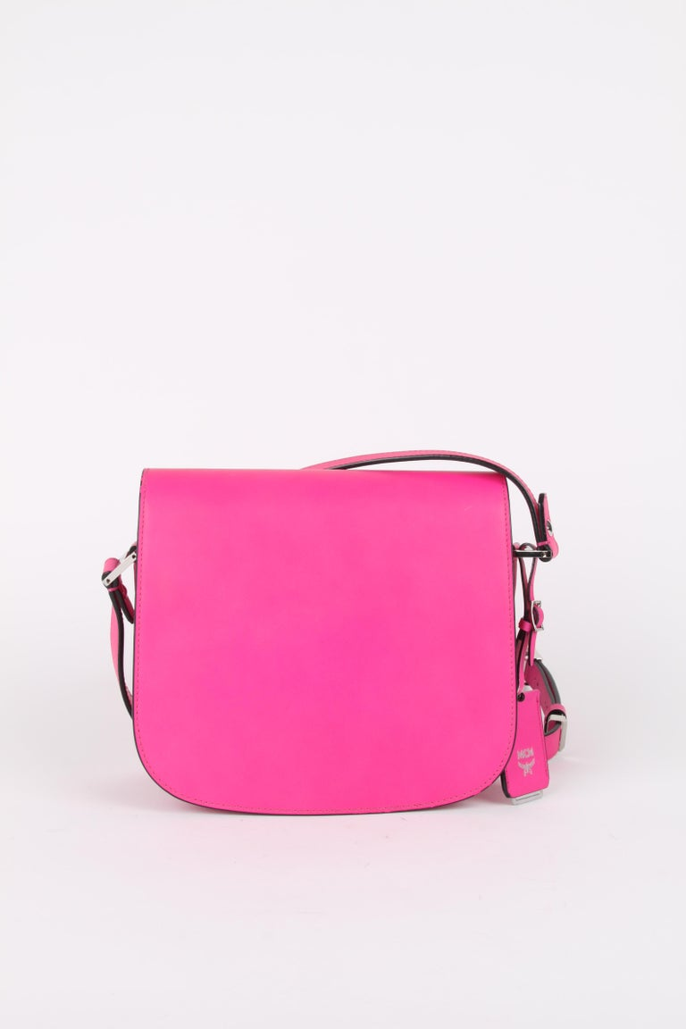 MCM Electric Pink Patricia Calfskin Crossbody Bag For Sale 1