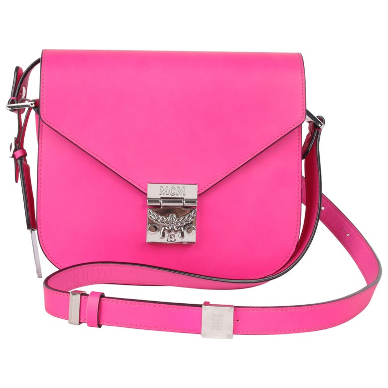 MCM Electric Pink Patricia Calfskin Crossbody Bag For Sale