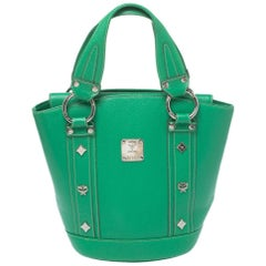 MCM Green Leather Studded Flap Bucket Bag