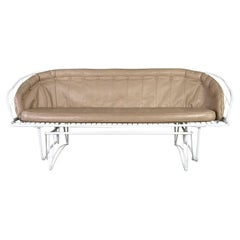 MCM Homecrest White Painted Metal Glider & Taupe Vinyl Cushions & Button Detail