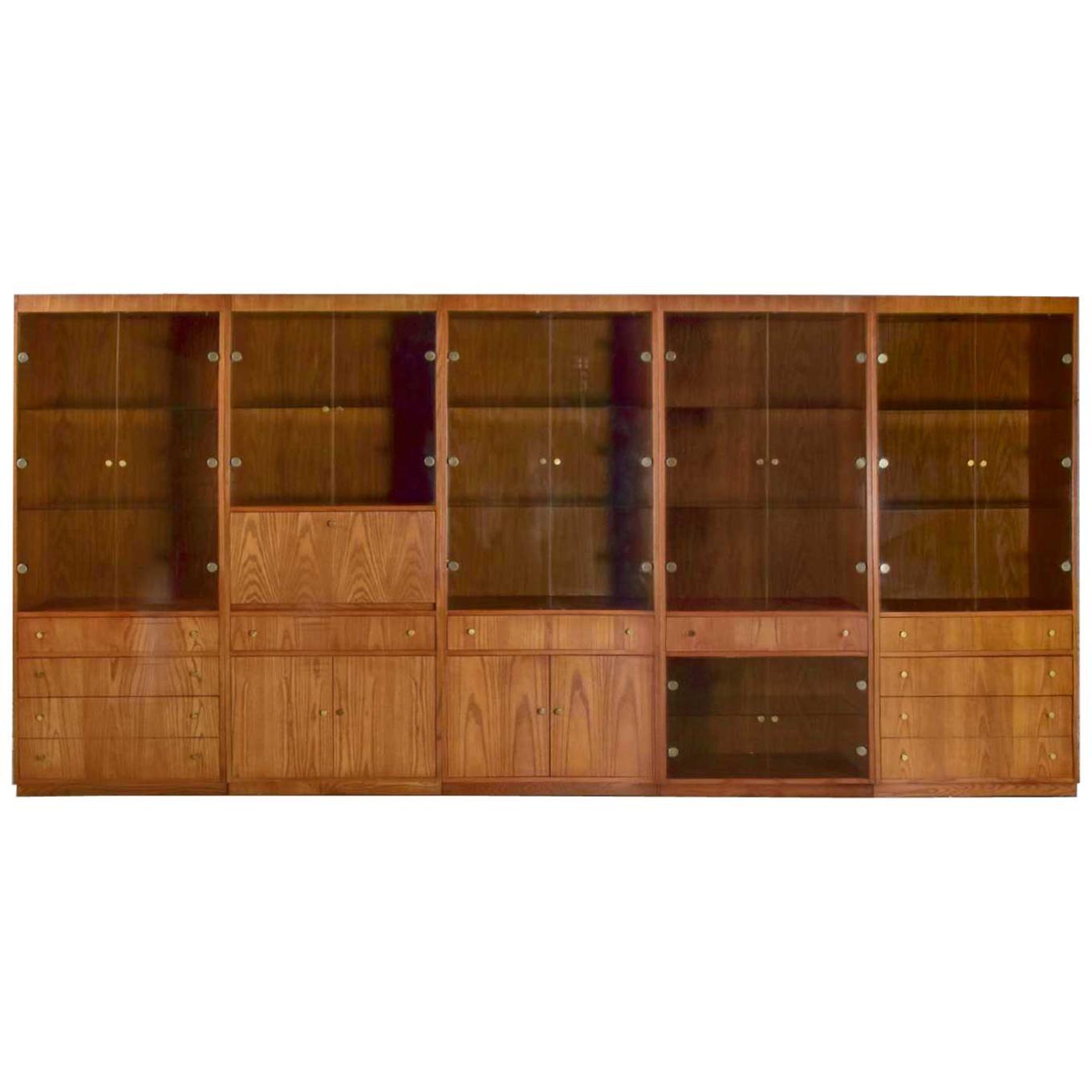 MCM Hooker 5 Section Oak Veneer Display Cabinet Wall Unit Smoked Glass Doors