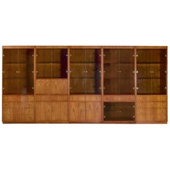 MCM Hooker 5 Section Oak Veneer Display Cabinet Wall Unit Smoked Glass Doors