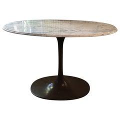 MCM, Italian Carrara Marble Tulip Table with Bronze Colored Base