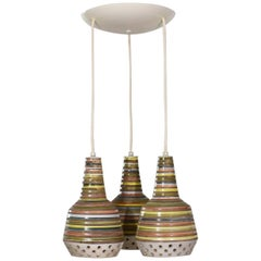 MCM Italian Ceramic Pendant Ceiling Light Attributed to Alvino Bagni for Raymor