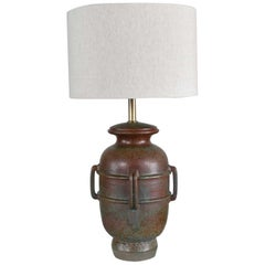 MCM Italian Green Pottery Lamp by Raymor Attributed to Alvino Bagni