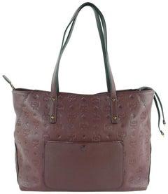 MCM Klara Burgundy Embossed Tote 23mcz1912 Bordeaux LeatherShoulder Bag