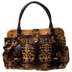MCM Leopard Print Calfhair and Coated Canvas Tote