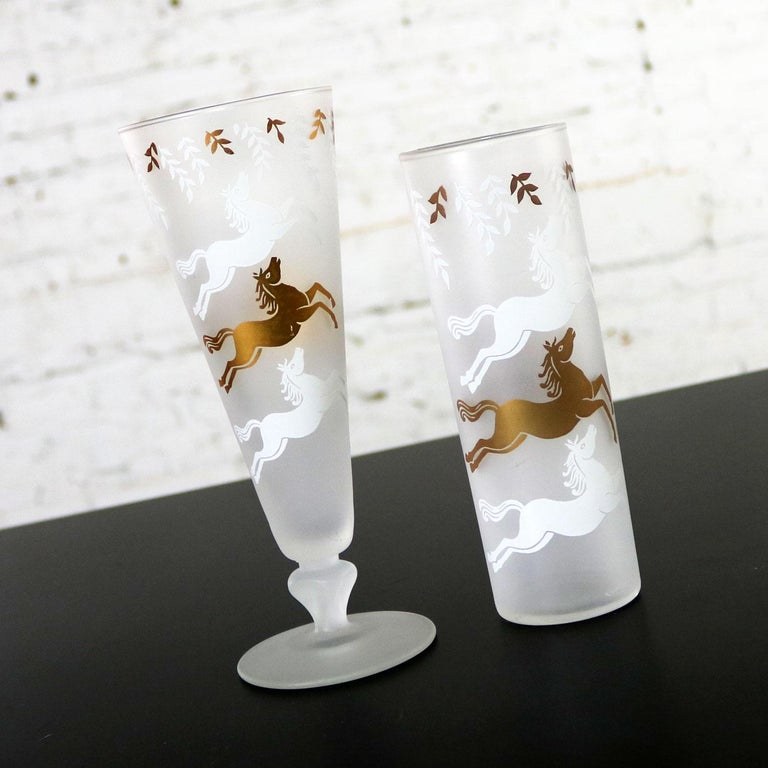 MCM Libbey Cavalcade Galloping Horse Cocktail Glasses Gold White Pilsner Collins For Sale 8