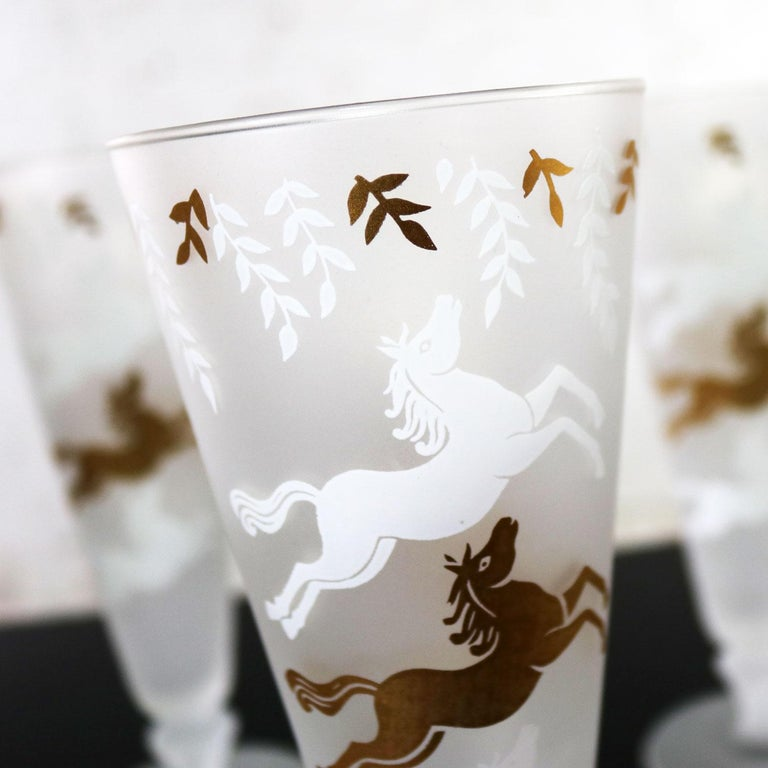 MCM Libbey Cavalcade Galloping Horse Cocktail Glasses Gold White Pilsner Collins For Sale 2