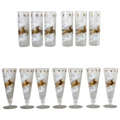 MCM Libbey Cavalcade Galloping Horse Cocktail Glasses Gold White Pilsner Collins