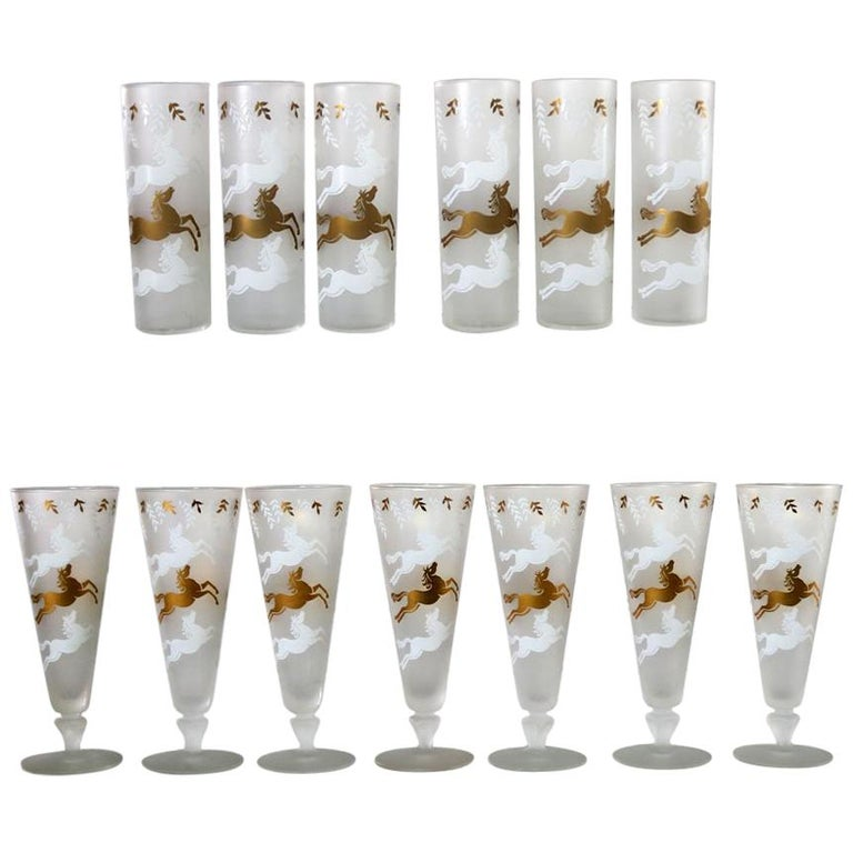 MCM Libbey Cavalcade Galloping Horse Cocktail Glasses Gold White Pilsner Collins For Sale