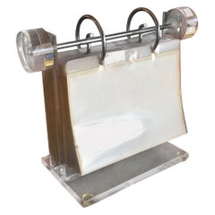MCM Lucite / Acrylic Clear Photo Display Stand / Rolodex Frame