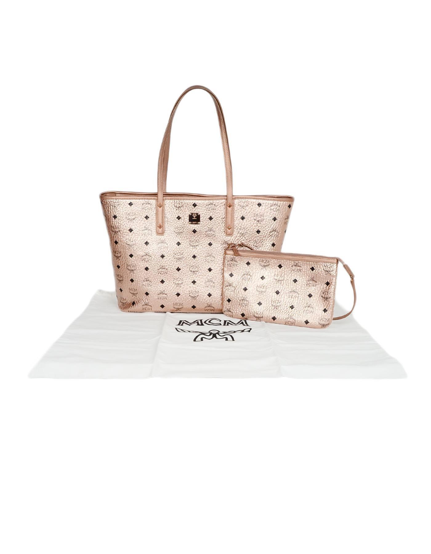 7d0fae2a62 MCM Metallic Pink Monogram Visetos Medium Anya Zip Top Shopper Tote Bag For  Sale at 1stdibs
