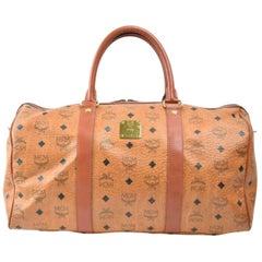 MCM Monogram Visetos Boston Duffle 870265 Brown Coated Canvas Weekend/Travel Bag