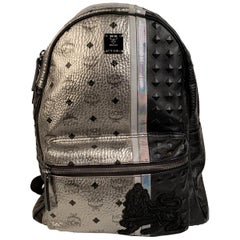 MCM Munchen Silver Black Visetos Studded Lion Stark Backpack Bag