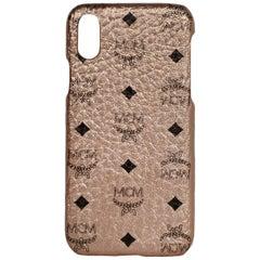 MCM NWT Champagne Gold Monogram Visetos iPhone X phone case