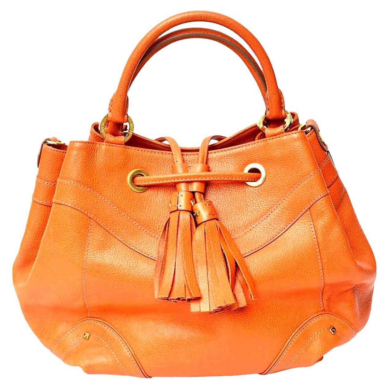 MCM Orange Leather and Gold Plated Tassel Hand Bag Vintage