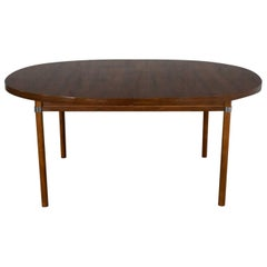 MCM Oval Walnut Toned Expanding Dining Table Chrome Accents & Laminate Top