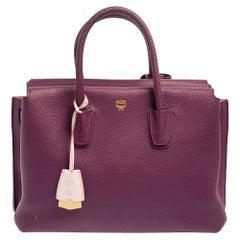 MCM Purple Leather Medium Milla Tote