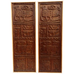 Mcm Rare Pair of Evelyn Ackerman Wood Carved Panels for Panelcarve Evie's Birds