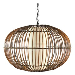 MCM Rattan Cage Pendant Chandelier with Interior Shade after Franco Albini