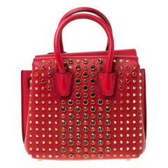 MCM Red Leather Crystal Studded Milla Satchel