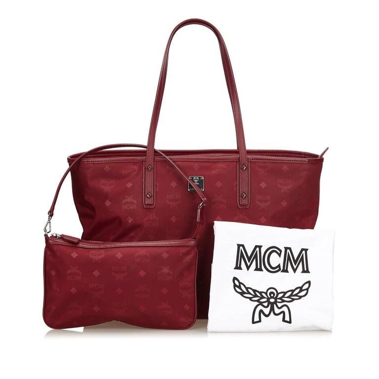 Mcm Red Nylon Visetos Tote Bag For 5